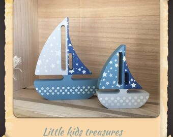 Chunky freestanding wooden sailboats - set of 2 (blues/grey) - Little kids treasures
