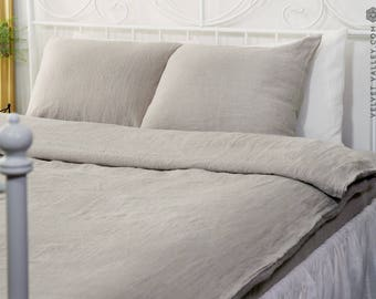 Natural linen DUVET COVER-Softened unbleached linen duvet cover -Full/double /queen/king size duvet-softened linen duvet cover