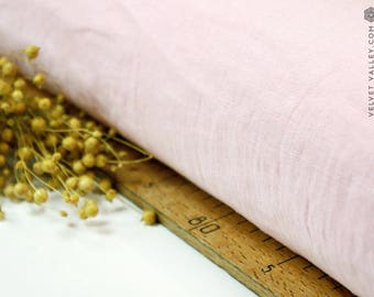 Softened crystal pink linen fabric -Rosy pink linen- Stonewashed light pink fabric for clothing, bedding