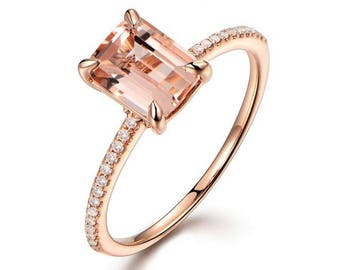 Limited Time Sale: 1.25 Carat Peach Pink Morganite  (emerald cut Morganite) and Diamond Engagement Ring in 14k Rose Gold