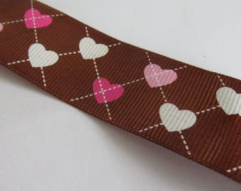Pretty Brown Ribbon with white and pink heart