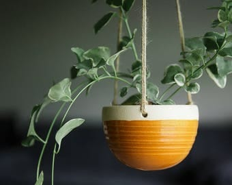 CERAMIC HANGING PLANTER // hanging planter- succulent planter - succulent planter - hostess gift - greenery decor - deep goldenrod