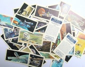 Space collector cards: pack of 45 Brooke Bond Tea cards from the 1970s. Collectible ephemera or for use in craft, scrapbook, collage OT650