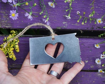 South Dakota Christmas Ornament Rustic Raw Industrial steel SD State Heart Christmas Tree Ornament Holiday Gift Industrial By BE Creations