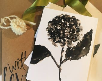 Hydrangea, Black and White, Ink, Watercolor, Note Card