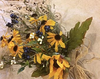 Floral Bouquet Arrangement,  Wedding, Gift, Favors, Small Country Meadow Mini Handheld Flowers, Thinking of You Gifts