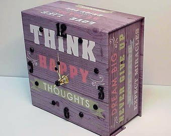 Think Happy aCharm Clock for Desk, Wall, Table or Dresser - Adorable Clock and Treasure Box in One - Special Hiding Place - Personalize it!
