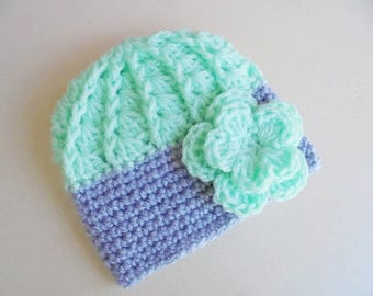 Mint green baby hat Crochet baby hat Baby girl hat Newborn girl hat Crochet girls hats Green baby girl hat Girl hospital hat