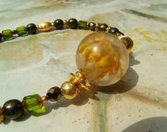 SOMMERSET IMMORTELLE old Lampwork Gold Green Necklace Bracelet