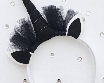 Unicorn hair circlet, black Horn, black felt ears, 24 cm high, 20 cm wide, Decoration, Kids room, Wholesale