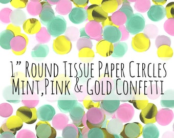 300 Pink, Gold, White and Mint Confetti Tissue Paper Circles, 1 inch round Confetti Circles, Wedding Decorations, Birthday Party Decoration