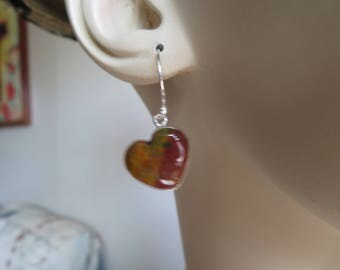 Handcrafted Heart Genuine Blood Stone 925 Sterling Silver Dangle Earrings, Wt. 4.3 Grams, Length 1 1/4""