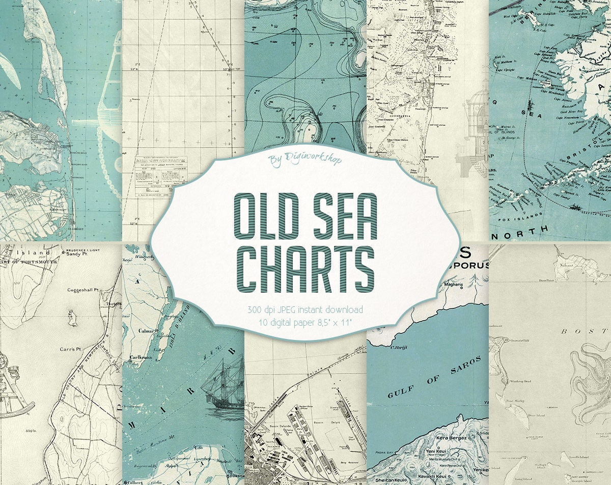 old maps digital paper old sea charts vintage