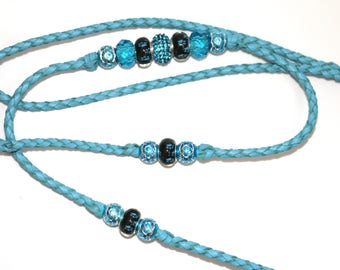 "Pale blue clip or loop 36"" hand braided kangaroo leather dog show leash/lead with beadsGol"