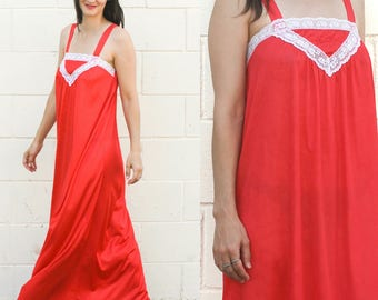 Vintage Red Nightgown, Slip Dress, Small Medium Made in USA, Nightie