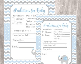 Predictions for Baby, Baby Shower Prediction and Advice, Blue Elephant Baby Shower, Instant Download, Elephant Baby Boy Printable Game