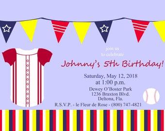 Child's Baseball Party Invitation