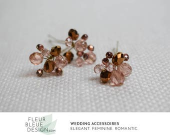 pink hairpin set | crystal hair pins | cystal hair accessories | bridal hair pin | wedding hair jewelry | copper