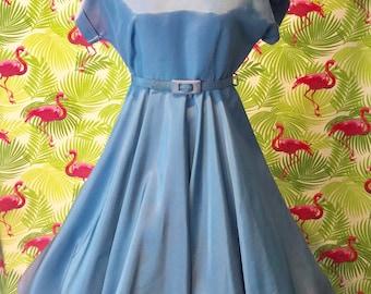 Sky blue vintage 1950's dress by Honeylane for Sears Roebuck - as is