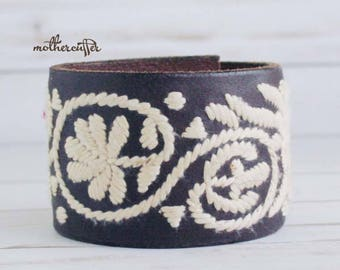 CUSTOM HANDSTAMPED wide dark brown leather cuff with stitching by mothercuffer