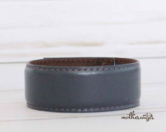 CUSTOM HANDSTAMPED narrow gray leather cuff with stitching by mothercuffer