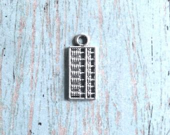 10 Small abacus charms (2 sided) silver tone - math teacher gift, teacher charms, silver abacus pendants, accounting charms, math charm, Y16