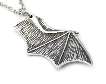 Bat Wing Necklace, Vampire Pendant Jewelry, Animal Charm in Pewter