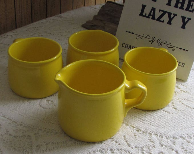 Mikasa Yellow Bob Van Allen Coffee Cups and Cream Pitcher Vintage Dinnerware Three (3) Cups and a Creamer