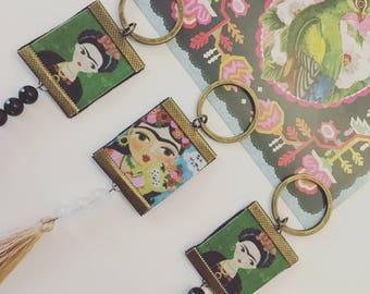 "Bag charm / Keyring - series ""FRIDA KAHLO"" Cosita Buena-pendant/beads black semi precious onyx/leather/metal bronze/frida"