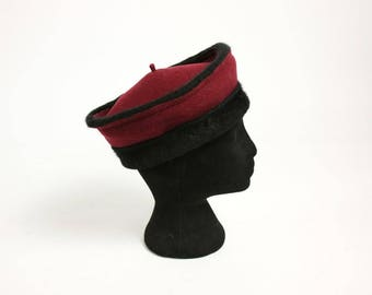 Vintage 70's 80's French Burgundy Black Wool Pillbox Hat