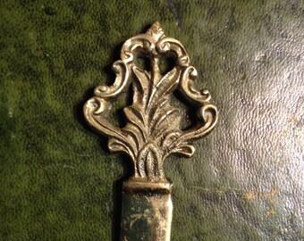 Vintage Solid Brass Letter Opener - Desk Decor- Paper Knife