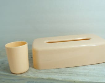 Peach bathroom set etsy for Peach bathroom accessories