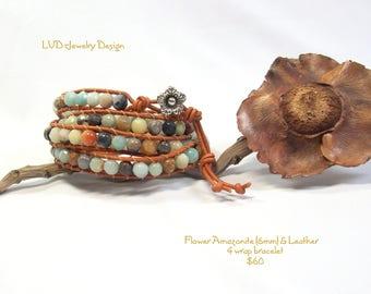 Fleur Amazonite Pierre & Bracelet de cuir 4
