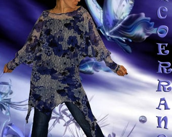 Unstructured asymmetric tunic, stretch top, long tunic lace ' Blue Flowers.  '