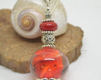 925 necklace pink necklace 55 cm silver chain red orange Lampwork Glass Beads