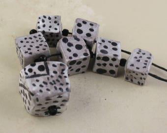 "Handmade stoneware cubes glazed art beads dots  ""seeing spots"""