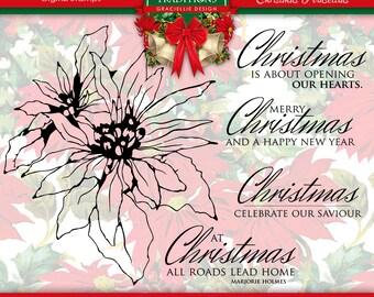 Christmas Poinsettias  Digital Stamp Set