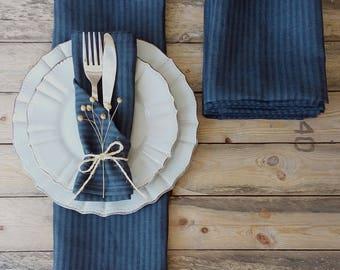 Blue linen napkins - dark blue napkins - blue napkins set - Ink blue napkins - blue striped napkins - blue cloth napkins