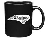 coffee mug, north carolina mug, wedding gift, wedding favor, anniversary gift, black and white