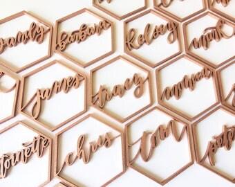 Custom Geometric Name - Place Settings - Laser Cut - Place Cards