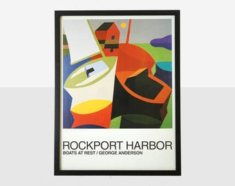 rockport harbor poster, george anderson painting, rockport maine poster, nautical framed poster, nautical art, boat painting, sailboat art