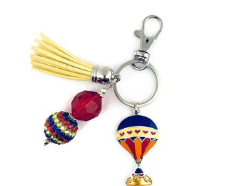Hot Air Balloon Key Chain/Hot Air Balloon Gifts/Air Ballooning/Steampunk Gifts/Parisian Gifts/Purse Charm/Tassel Key Chain