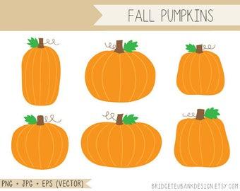 Pumpkin clipart, Fall Clip Art, Fall Pumpkins, Commercial Use Clipart, jpg, png, eps, Vector Graphics, INSTANT DOWNLOAD