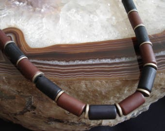Men Ceramic Black Brown Silver Necklace Modern Minimalist Jewelry Men Boho Necklace