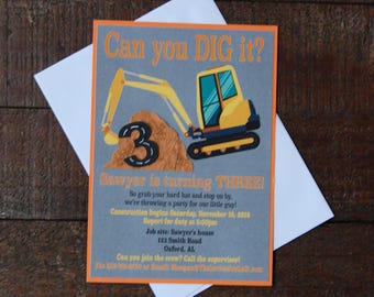 Construction Birthday Invitation, Excavator Birthday Invitation, Construction Birthday, Boy Birthday Invitation