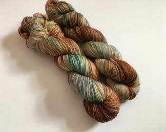 Woodlands Hand Dyed Superwash Merino/ Nylon/ Stellina Sock Yarn