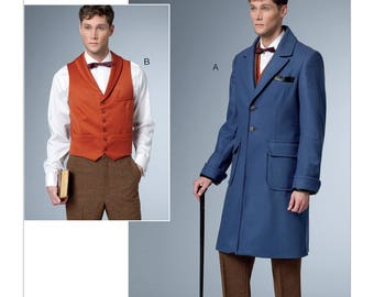 Butterick Pattern B6502 Men's Single-Breasted Lined Coat and Vest with Back Belt