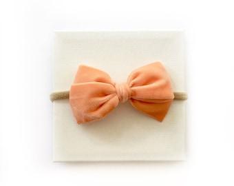 Vintage Velvet Grace Bow ~ Peach