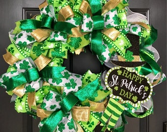 St Patricks Day, St Patricks Day Wreath, Leprechaun Wreath, St Patricks Wreath, Spring Wreath, Green Wreath, Irish Wreath, Shamrock Wreath