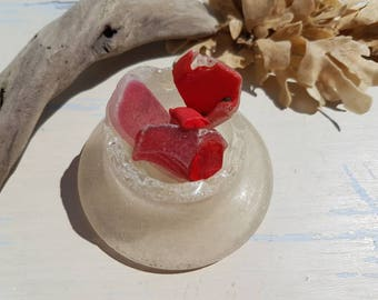 RED & WHITE NEST ~ English Sea Glass ~ Seaglass Display ~ Thames Mudlarking Finds ~ Cranberry Beach Glass
